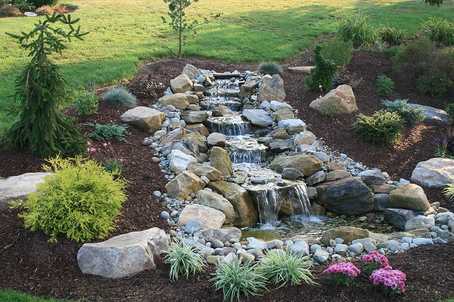 Water features home turf yard and home maintenance for Garden pond waterfall ideas